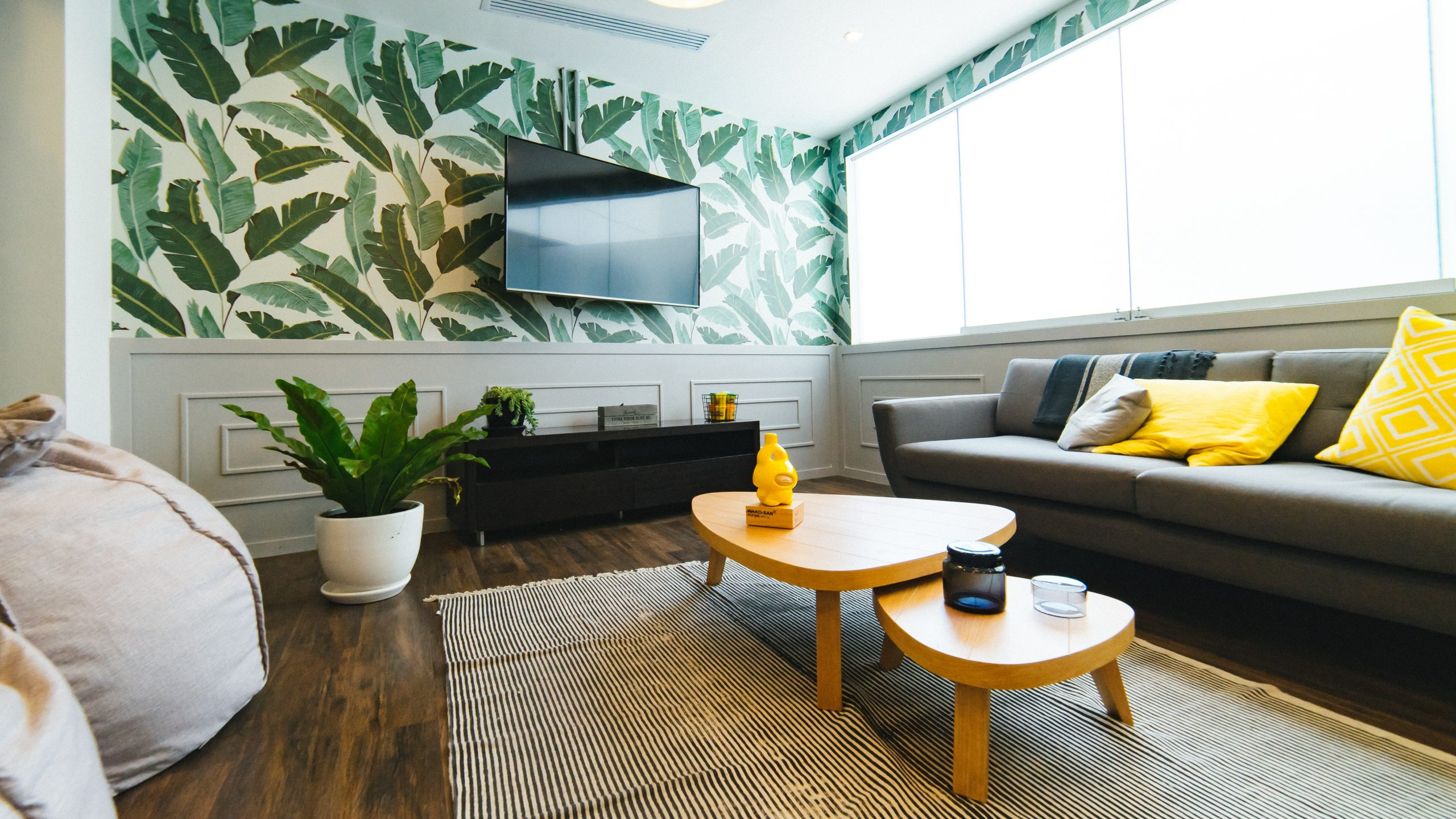 Photo of living room with palm tree wallpaper behind TV.