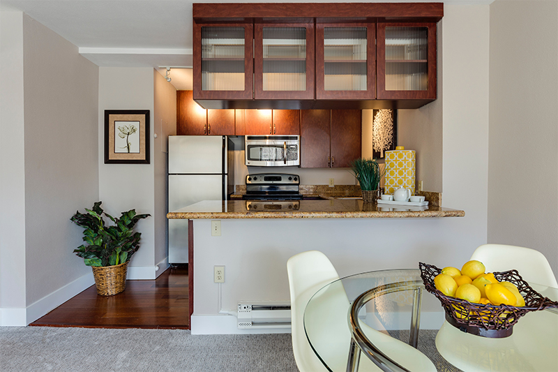 Home Interior showing upscale compact kitchen.
